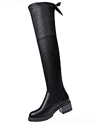 cheap -Women's Shoes PU Winter Comfort Boots Flat Round Toe Thigh-high Boots for Outdoor Black
