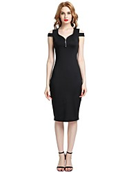 cheap -Women's Party Club Vintage Casual Sexy Bodycon Sheath Dress,Solid U Neck Midi Knee-length Sleeveless Rayon Polyester Spandex All Season