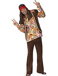 abordables -Hippie Disfraz Hombre Blusa / Falda Pantalones Café Cosecha Cosplay Manga Larga Campana Slips