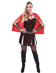 abordables -Sparte Spartiates La Grèce ancienne Rome antique Costume Femme Costume Noir/Rouge Vintage Cosplay Tissu Denim Sans Manches Lolita Mi-long