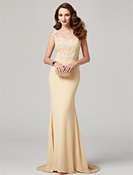 Sereia Decote V Longo Chiffon Renda Evento Formal Vestido com Miçangas Apliques de TS Couture®