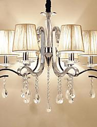 abordables -QIHengZhaoMing 6 lumières Bougie Lampe suspendue Lumière d'ambiance - Cristal, Protection des Yeux, 110-120V / 220-240V, Blanc Crème,