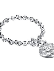 cheap -Women's Cuff Bracelet Simple Fashion Silver Plated Heart Jewelry Birthday Gift