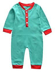 abordables -bébé Une-Pièce Unisexe Noël Couleur Pleine Polyester Hiver Automne Manches longues Mignon Vert Rouge