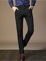 cheap -Men's Mid Rise Micro-elastic Business Pants,Simple Vintage Solid Winter Fall