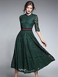 baratos -Mulheres Rendas Vestido Sólido Colarinho Chinês Médio