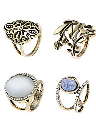 cheap -Women's Knuckle Ring Band Rings Turquoise Rhinestone Metallic Rock Opal Alloy Circle Leaf Jewelry Club Street