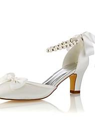 Недорогие -Жен. Обувь Стретч-сатин Весна Лето Туфли лодочки Свадебная обувь На толстом каблуке Круглый носок Кристаллы для Для вечеринки / ужина Для