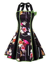 cheap -Women's Party Going out Vintage Sexy A Line Sheath Dress,Floral Patchwork Halter Knee-length Sleeveless Polyester Spring Fall Mid Rise