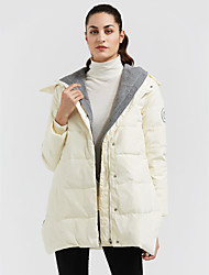 cheap -Women's Long Down Coat,Casual Daily Solid-Polyester White Duck Down Long Sleeves