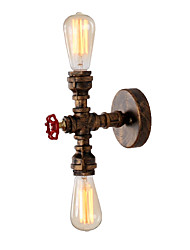 Loft retro estilo industrial wall sconce restaurant and bar 2 head water pipe wall lamp