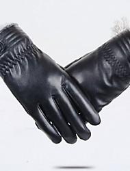 cheap -Men's Cashmere PU Wrist Length Fingertips,Casual Solid Winter