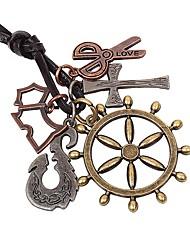 Недорогие -Муж. Ожерелья с подвесками - Крест, Ножницы Камни, Мода Бронзовый Ожерелье 1 Назначение Повседневные, На выход