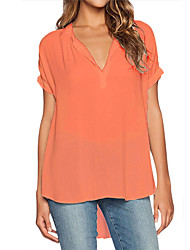 cheap -Women's Holiday Casual/Daily Vintage Street chic Blouse,Solid V Neck Short Sleeve Polyester