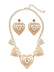 Недорогие -Жен. Стразы Искусственный бриллиант Сердце Комплект ювелирных изделий 1 ожерелье Серьги - Классика Мода Сердце Серьги-слезки Ожерелья с