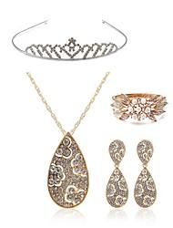cheap -Women's Tiaras Bridal Jewelry Sets Rhinestone Fashion European Wedding Party Pearl Imitation Diamond Alloy Drop Body Jewelry 1 Necklace 1