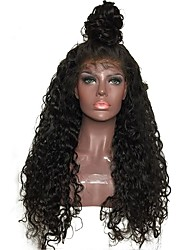 cheap -Human Hair Glueless Lace Front / Lace Front Wig Brazilian Hair Curly / Jerry Curl Wig With Baby Hair 130% Natural Hairline / Middle Part / 100% Virgin Women's Medium Length / Long Human Hair Lace Wig