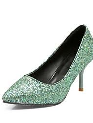 Damen Schuhe maßgeschneiderte Werkstoffe Kunstleder Frühling Herbst Stiefeletten High Heels Stöckelabsatz Spitze Zehe für Hochzeit Silber