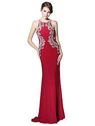cheap -Mermaid / Trumpet Jewel Neck Sweep / Brush Train Linen Prom Formal Evening Dress with Beading by Sarahbridal