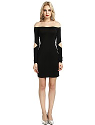 cheap -Women's Party Club Vintage Casual Sexy Bodycon Sheath Dress,Solid Boat Neck Above Knee Long Sleeve Rayon Polyester Spandex All Season