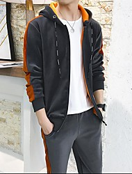 Men's Sports Set Color Block Hooded Micro-elastic Cotton Polyester Long Sleeve Winter Autumn/Fall