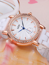 cheap -Women's Wrist Watch Simulated Diamond Watch Quartz 30 m Water Resistant / Water Proof Imitation Diamond Ceramic Band Analog Sparkle Casual Fashion White - Silver Rose Gold