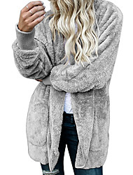 cheap -Women's Casual/Daily Simple Winter Fall Trench Coat,Solid Hooded Long Sleeve Regular Polyester Spandex Oversized