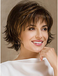 cheap -Women Synthetic Wig Short Natural Wave Brown Highlighted/Balayage Hair Pixie Cut Layered Haircut Celebrity Wig Natural Wigs Costume Wig