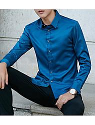 Masculino Camisa Social Diário Casual Todas as Estações,Sólido Poliéster Colarinho de Camisa Manga Comprida Opaca