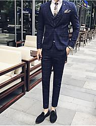 Masculino Ternos/Conjuntos Casual Simples Primavera/Outono/Inverno/Verão,Sólido Padrão Algodão Colarinho de Camisa Manga Longa