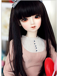 cheap -Synthetic Wig kinky Straight With Bangs Synthetic Hair Natural Hairline Black Wig Long Capless / Doll Wig
