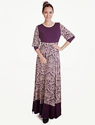 cheap -Ethnic/Religious Arabian Dress Abaya Female Festival / Holiday Halloween Costumes Black Blue Purple Fuschia Ink Blue Floral