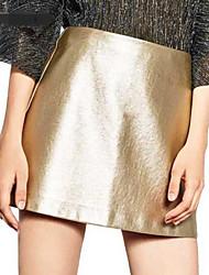 preiswerte -Damen Einfach Retro Lässig/Alltäglich Mini Röcke A-Linie,PU Solide Jahreszeiten