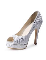 abordables -Femme Chaussures Soie Printemps / Eté Escarpin Basique Chaussures de mariage Talon Cône Bout ouvert Strass Blanc / Mariage / Soirée & Evénement