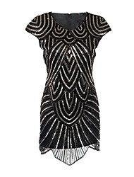 cheap -The Great Gatsby 1920s Costume Women's Flapper Dress Party Costume Cocktail Dress Black Vintage Cosplay Chinlon Nylon Short Sleeves Cap