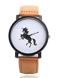 baratos -Homens Mulheres Quartzo Relógio de Pulso Chinês N / D PU Banda Casual Minimalista Fashion Preta Chocolate