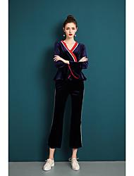economico -Set Pantalone Completi abbigliamento Da donna Quotidiano Vintage Casual Primavera Autunno,Tinta unita A V Poliestere Maniche corte