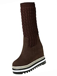 cheap -Women's Shoes PU Winter Comfort Boots Flat Round Toe Thigh-high Boots for Outdoor Black Coffee