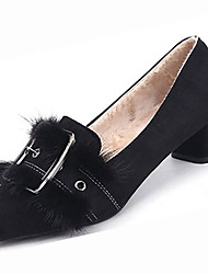 cheap -Women's Shoes Suede Winter Comfort Heels Chunky Heel Pointed Toe Rivet for Casual Khaki Black
