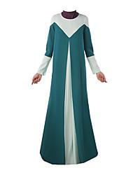 billige -Etnisk/Spirituel Arabisk kjole Abaya Kvindelig Festival / Højtider Halloween Kostumer Sort Blå Grøn Farveblok