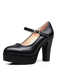 preiswerte -Damen Schuhe Mikrofaser Frühling Herbst Pumps High Heels Blockabsatz Spitze Zehe Schnalle für Kleid Büro & Karriere Schwarz
