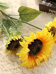 1 Ramo Poliéster Girassóis Flor de Mesa Flores artificiais