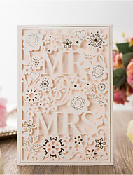 cheap -Flat Card Wedding Invitations 20pcs - Invitation Cards Artistic Style Bride & Groom Style Floral Floral Style Embossed Paper Scattered