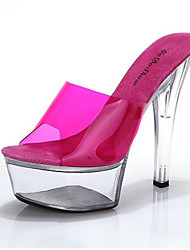 preiswerte -Damen Schuhe Gummi Sommer Komfort Pumps Sandalen Blockabsatz Offene Spitze für Normal Fuchsia Rot Rosa