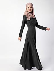 billige -Etnisk/Spirituel Arabisk kjole Abaya Kvindelig Festival / Højtider Halloween Kostumer Sort Rød Ensfarvet