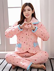 Feminino Conjunto Pijamas,Estampado Estampado Cashmere Algodão Rosa