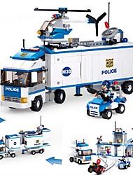 abordables -Sluban Blocs de Construction 572pcs Véhicules / Camion de transporteur / Poste de police Camion Cadeau