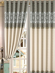 cheap -Grommet Top Double Pleat Pencil Pleat Curtain Modern, Yarn Dyed Color Block Living Room Polyester Blend Material Blackout Curtains Drapes