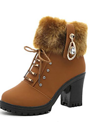 cheap -Women's Shoes Real Leather Winter Fall Pom-pom Shoes Fashion Boots Boots Chunky Heel Round Toe Mid-Calf Boots for Casual Black Brown