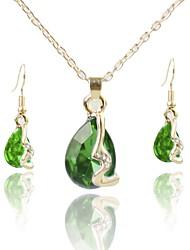 baratos -Mulheres Chapeado Dourado Conjunto de jóias 1 Colar / Brincos - Simples / Fashion Verde Conjunto de Jóias / Sets nupcial Jóias Para